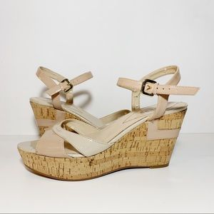 Guess Two Tone Beige & Tan Cork Sandals Wedges
